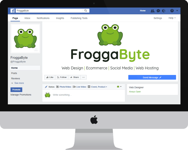 Mac screen showing the Facebook page for FroggaByte